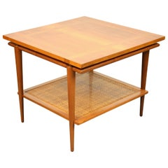 Midcentury Two-Tier Walnut and Cane Side Table