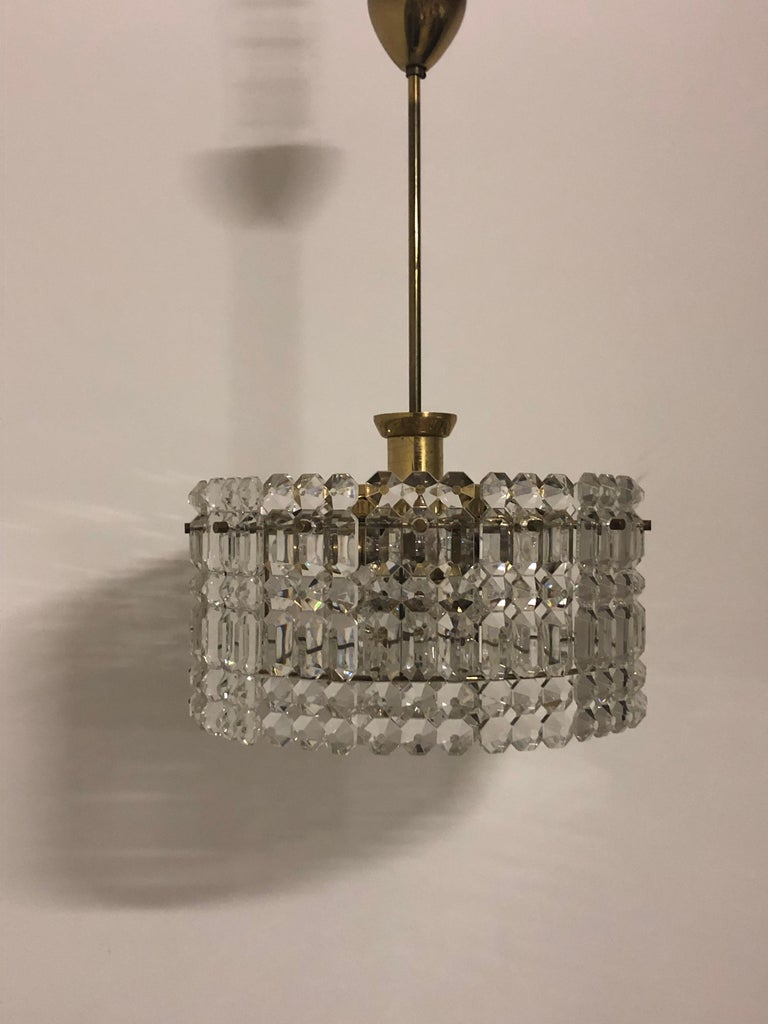 Midcentury Two-Tiered Chandelier by Kinkeldey, Brass and Grip Crystal, 1960s For Sale 4