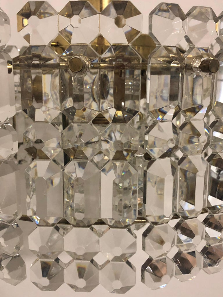 German Midcentury Two-Tiered Chandelier by Kinkeldey, Brass and Grip Crystal, 1960s For Sale