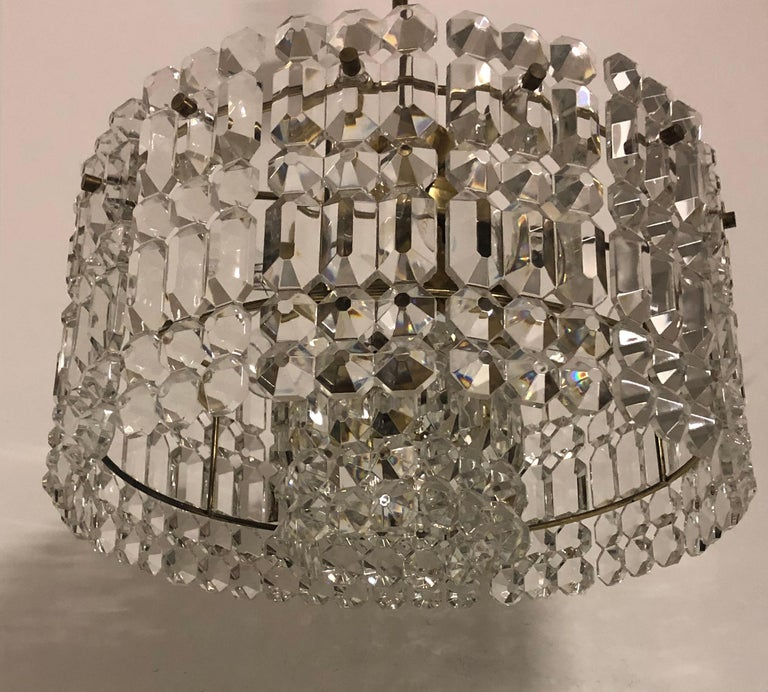 Midcentury Two-Tiered Chandelier by Kinkeldey, Brass and Grip Crystal, 1960s In Excellent Condition For Sale In Wiesbaden, Hessen
