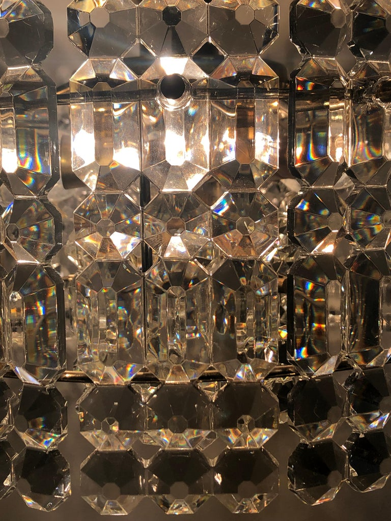 Mid-20th Century Midcentury Two-Tiered Chandelier by Kinkeldey, Brass and Grip Crystal, 1960s For Sale