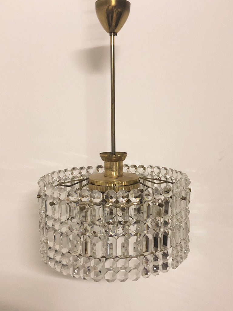 Midcentury Two-Tiered Chandelier by Kinkeldey, Brass and Grip Crystal, 1960s For Sale 2