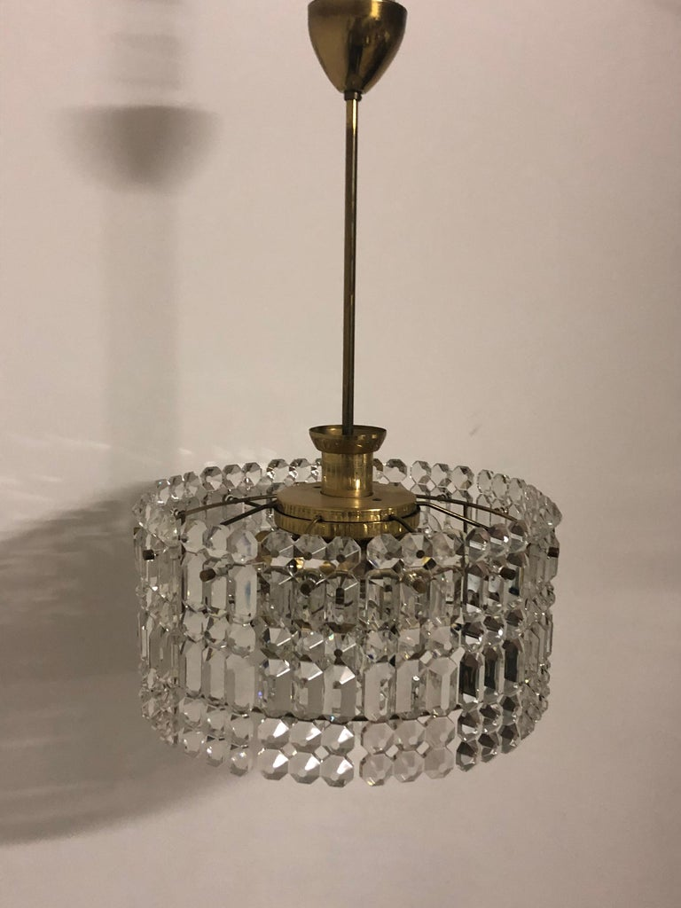 Midcentury Two-Tiered Chandelier by Kinkeldey, Brass and Grip Crystal, 1960s For Sale 3