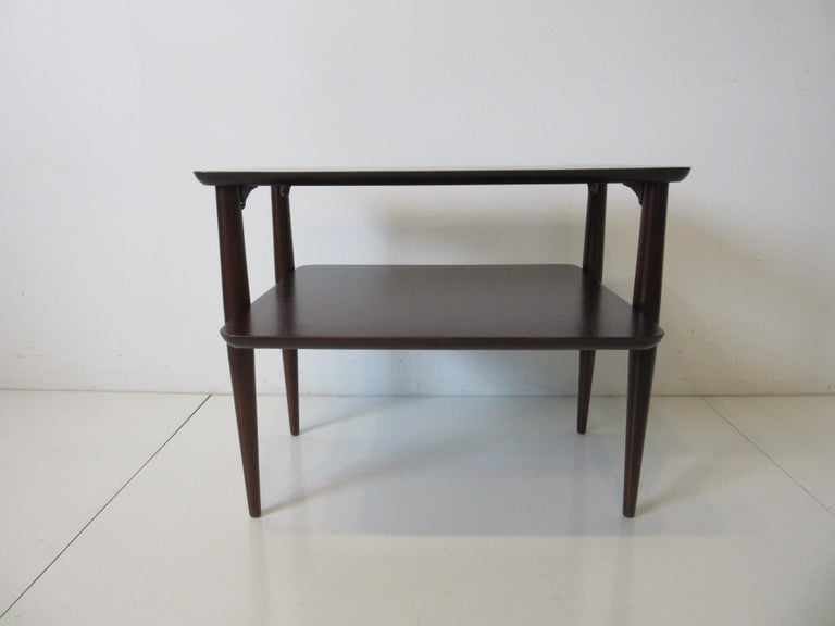 Wood Midcentury Two-Tiered Side Table For Sale