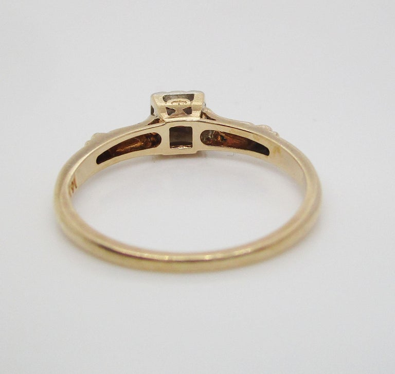 Midcentury Two-Tone 14 Karat Gold Single Cut Diamond Engagement Ring For Sale 5