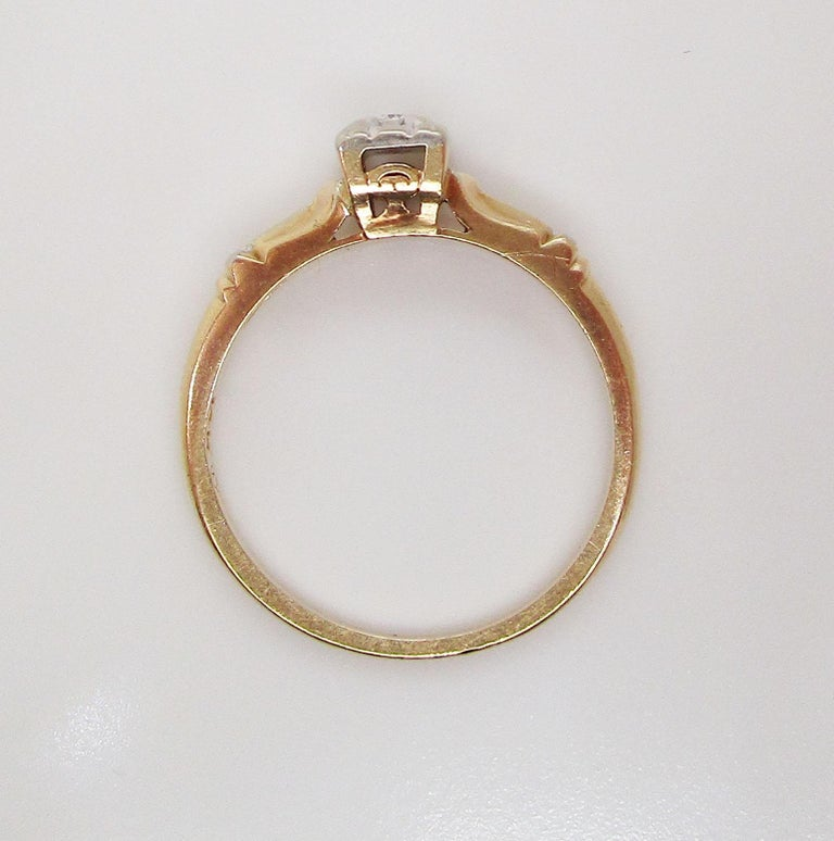 Midcentury Two-Tone 14 Karat Gold Single Cut Diamond Engagement Ring For Sale 6