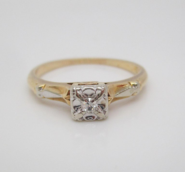 Midcentury Two-Tone 14 Karat Gold Single Cut Diamond Engagement Ring For Sale 1
