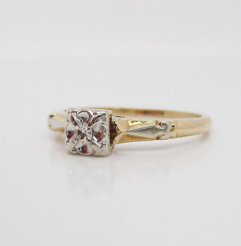 Midcentury Two-Tone 14 Karat Gold Single Cut Diamond Engagement Ring For Sale 2