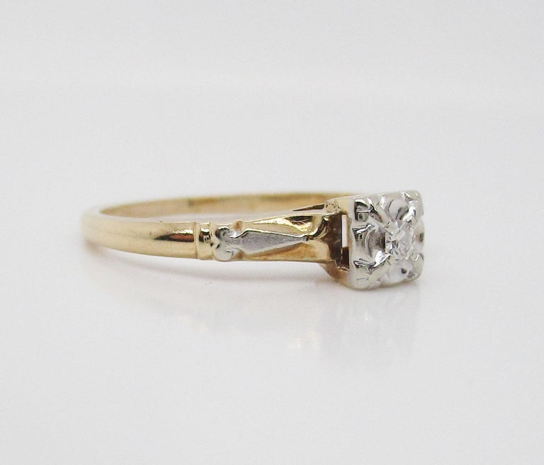 Midcentury Two-Tone 14 Karat Gold Single Cut Diamond Engagement Ring For Sale 3