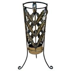 Mid Century Umbrella Stand Gilt Iron and Brass