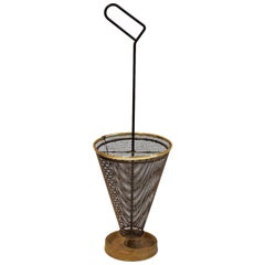 Midcentury Umbrella Stand of Black Perforated Metal and Brass, European