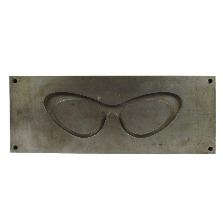 "Midcentury Unique Industrial Steel Oversized ""Cat's Eye"" Glasses Mold"