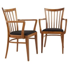 Mid Century Upholstered Captains Chairs, Pair