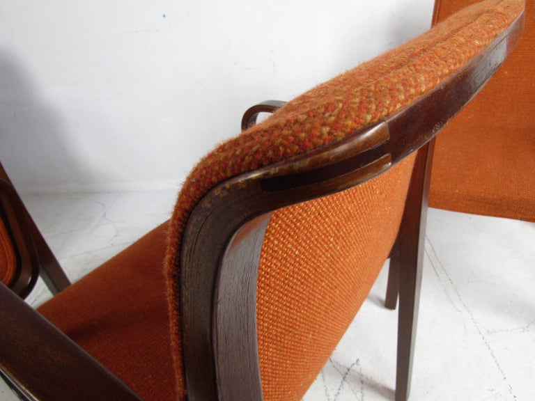 Upholstery Midcentury Upholstered Dining Chairs after Knoll, Set of 4 For Sale