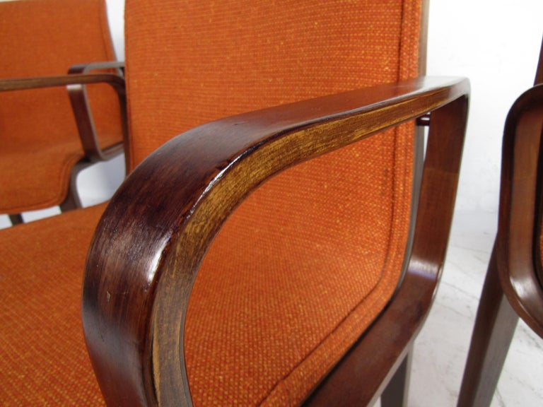 Midcentury Upholstered Dining Chairs after Knoll, Set of 4 For Sale 3