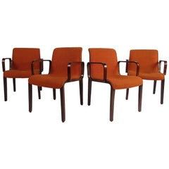 Midcentury Upholstered Dining Chairs after Knoll, Set of 4