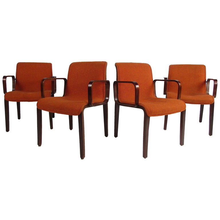 Midcentury Upholstered Dining Chairs after Knoll, Set of 4 For Sale