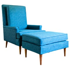 Midcentury Upholstered Highback Chair and Ottoman