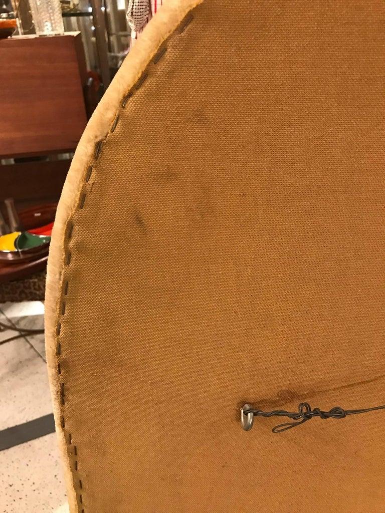 Velvet Midcentury Upholstered Mirror For Sale