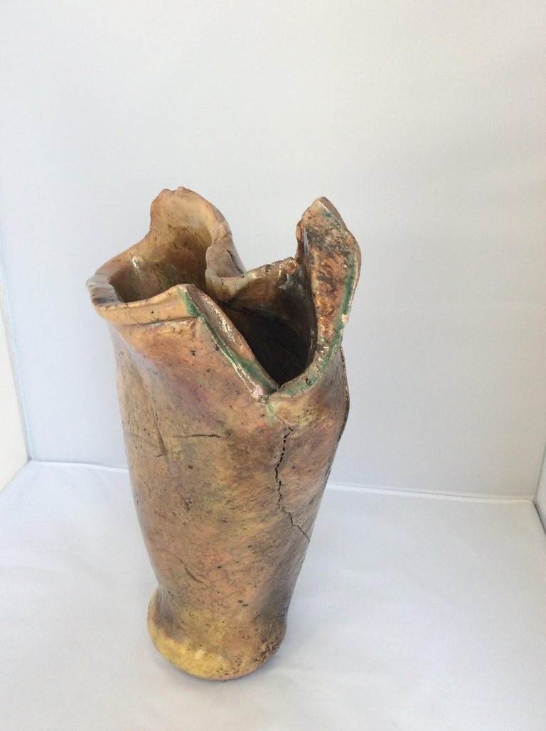 Glazed Mid Century Sculpted Stoneware Vase from Vallauris, circa 1970s For Sale