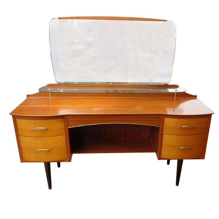 British Mid Century Vanity Dresser with Mirror For Sale