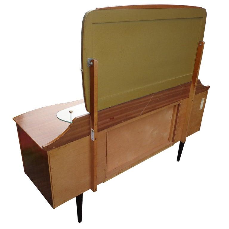 20th Century Mid Century Vanity Dresser with Mirror For Sale