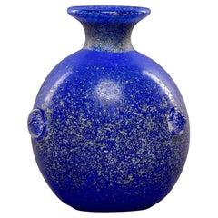 Mid Century Vecchia Blue Scavo Style Murano Glass Vase