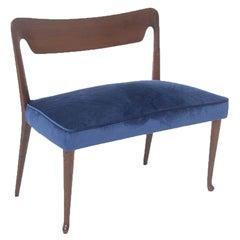Mid Century Velvet and Walnut Wooden Bench with Backrest by Guglielmo Ulrich