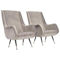 Midcentury Velvet Armchairs in the Manner of Zanuso