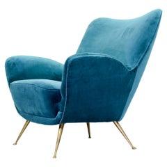 Midcentury Velvet Chair with Brass Legs, 1960s