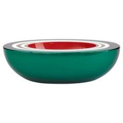 Midcentury Venetian Murano Layered Green Case Art Glass Bowl