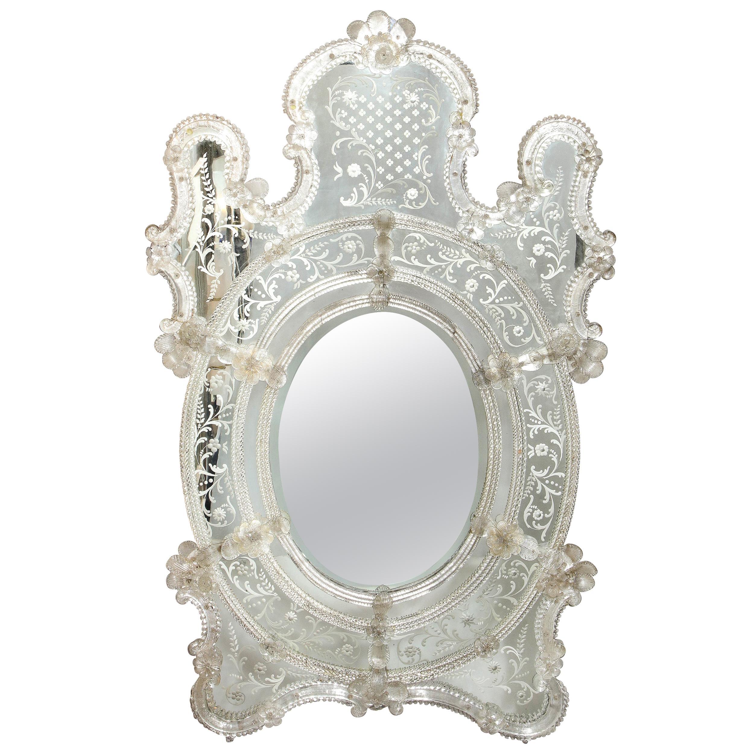 Mid Century Venetian Reverse Eglomise Braided Cartouche Mirror w/ Murano Florets