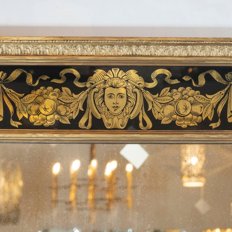 Italian Midcentury Venetian Reverse Églomisé Gilded Wall Mirror w/ Neoclassical Details For Sale