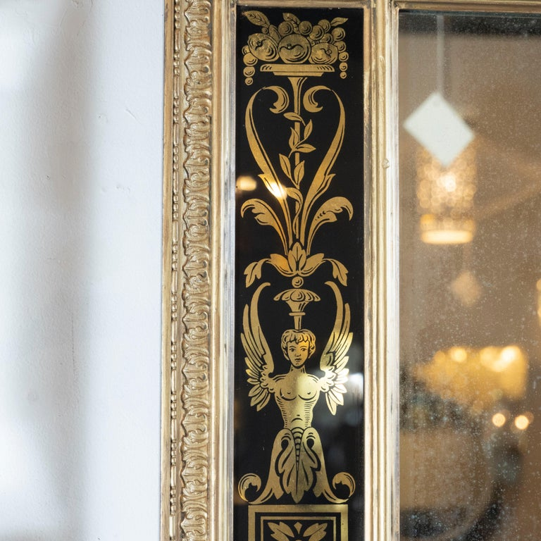 Mid-20th Century Midcentury Venetian Reverse Églomisé Gilded Wall Mirror w/ Neoclassical Details For Sale