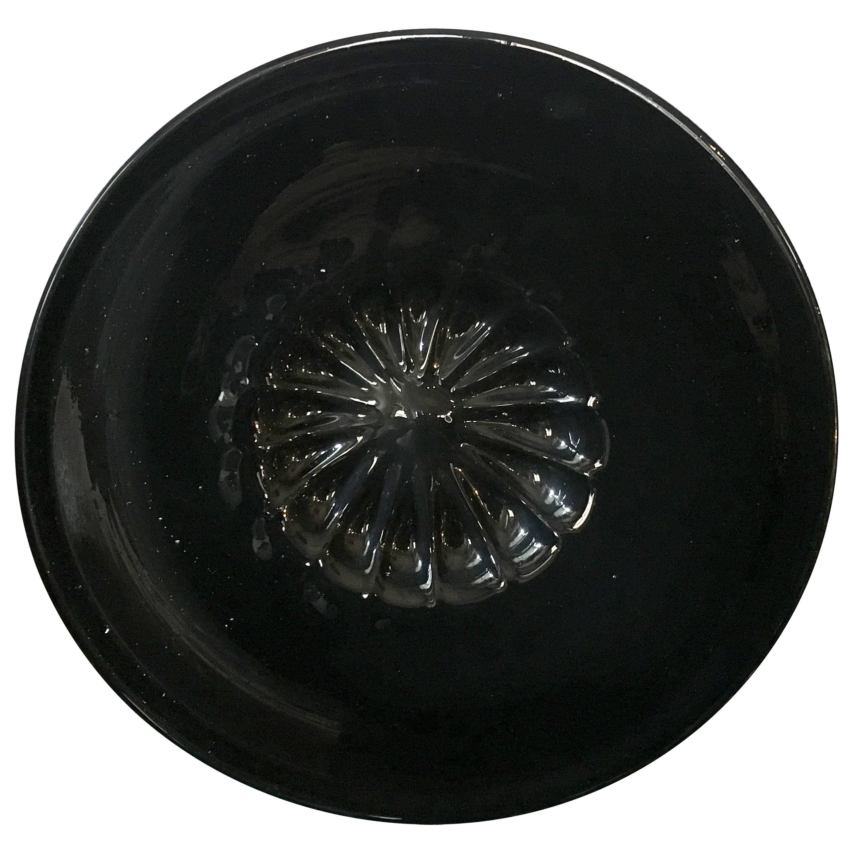 1960 Mid-Century Modern Style Murano Black Round Glass Bowl