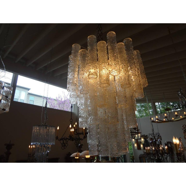 Mid-Century Modern Midcentury Venini Style Italian Murano Glass Chandelier For Sale