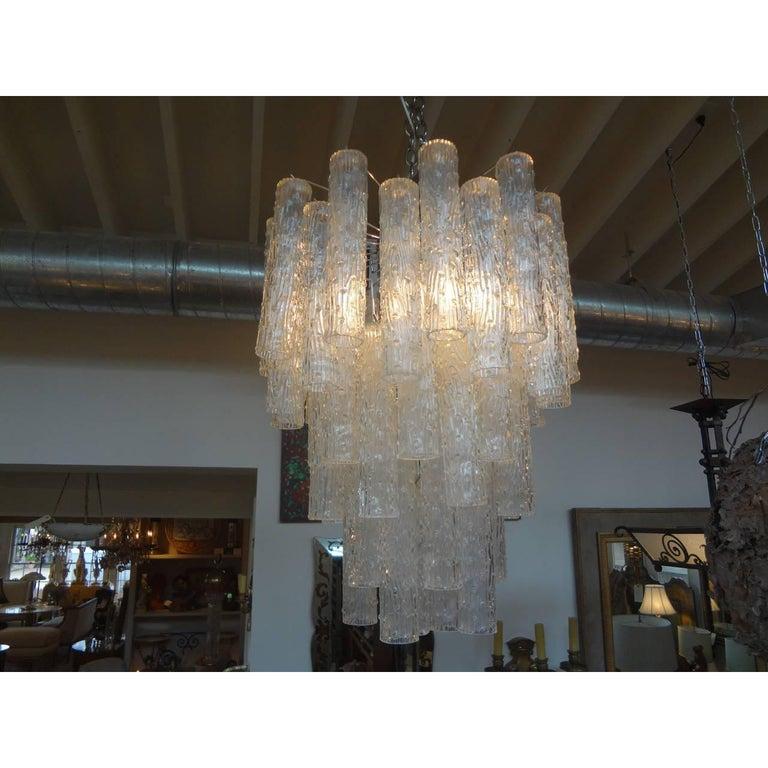 Mid-20th Century Midcentury Venini Style Italian Murano Glass Chandelier For Sale