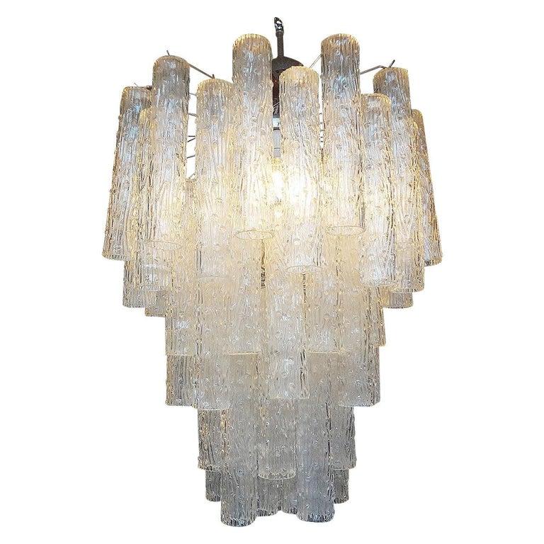 Midcentury Venini Style Italian Murano Glass Chandelier For Sale 2