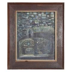 Midcentury Vintage Art Signed Oil Canvas Stone Arch Bridge