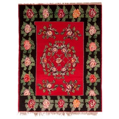 Midcentury Vintage Bessarabian Kilim Black Red Floral Turkish Flat-Weave Rug