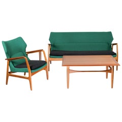 Midcentury Vintage Design Lounge Set Bovenkamp Sofa, Tables & Wingback Chair