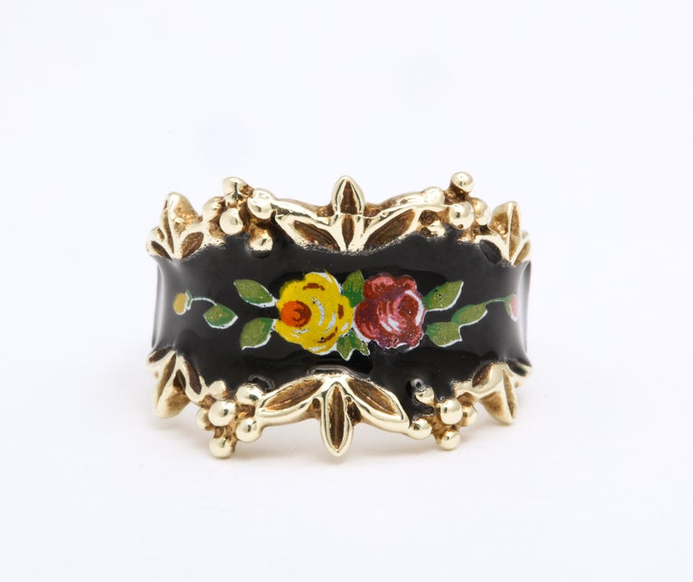 Modern Mid Century Vintage Gold and Enamel Floral Spray Ring For Sale