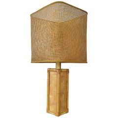 Midcentury Vintage Italian Rattan Bamboo Cane and Brass Table Lamp