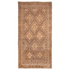 Midcentury Vintage Khotan Transitional Beige and Black Wool Rug