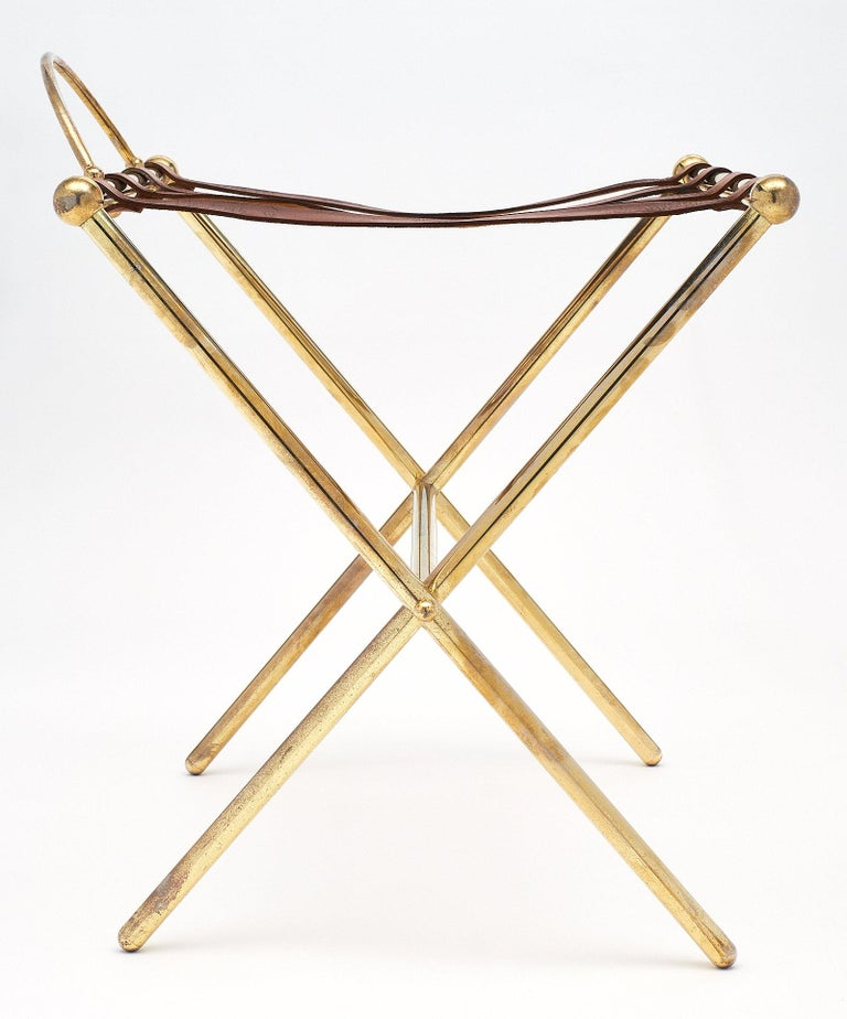 Brass Midcentury Vintage Luggage Stand For Sale