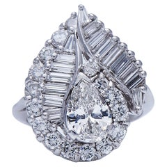 Midcentury, Vintage, Platinum, White Gold, Large Diamond Cluster Ring