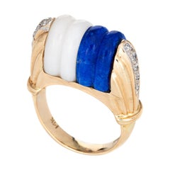 Mid Century Vintage Ring Diamond Fluted Sodalite White Agate 14k Gold Cocktail