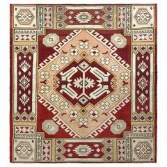 Midcentury Vintage Square Kilim Rug in Red and Beige Geometric Pattern