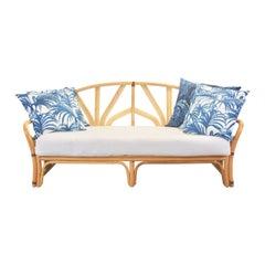 Midcentury Vintage Tiki Boho Style Rattan Daybed/Sofa