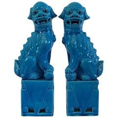 Midcentury Vintage Turquoise Blue Foo Dog Sculptures, 1960s